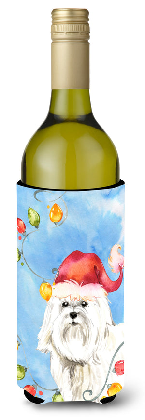 Buy this Christmas Lights Maltese Wine Bottle Beverage Insulator Hugger CK2486LITERK