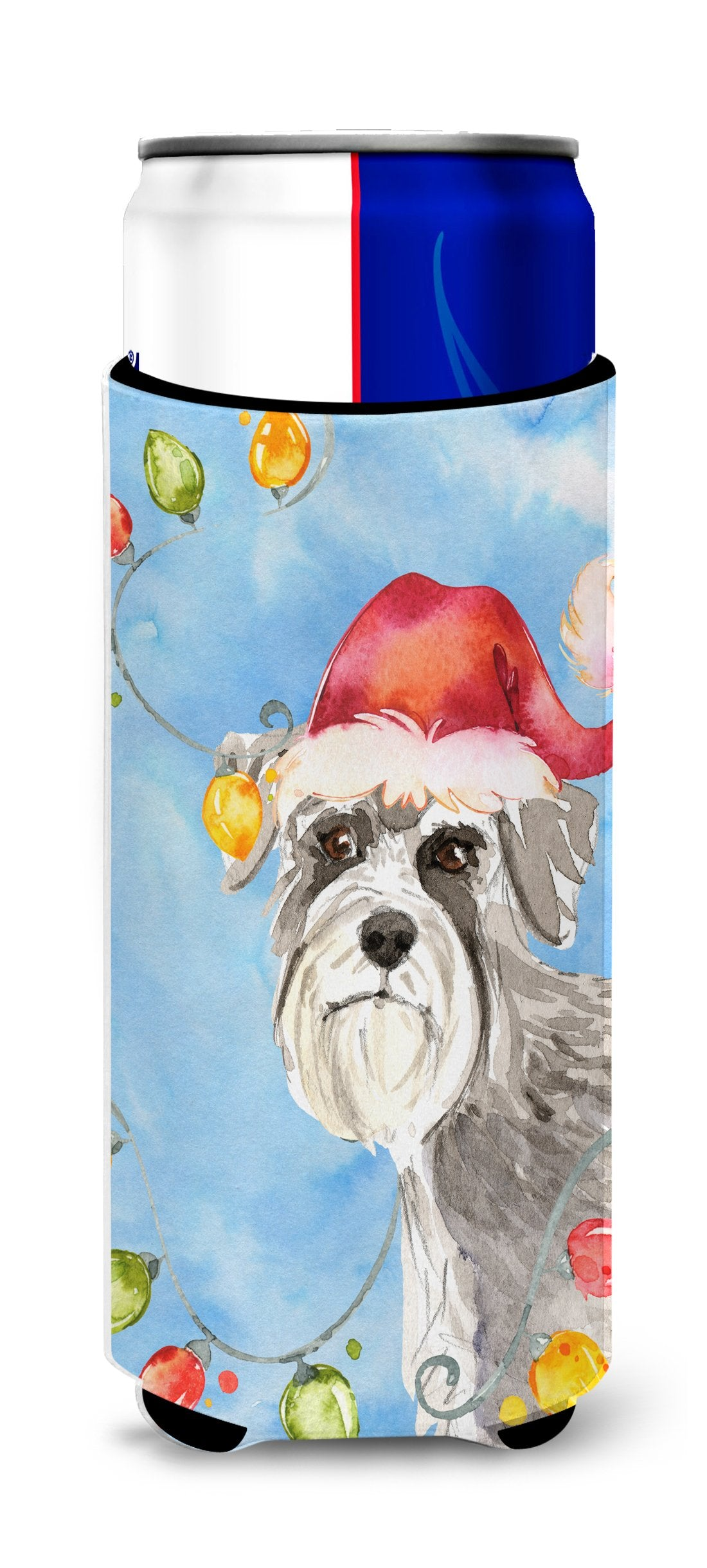 Christmas Lights Schnauzer #2 Michelob Ultra Hugger for slim cans CK2490MUK by Caroline's Treasures