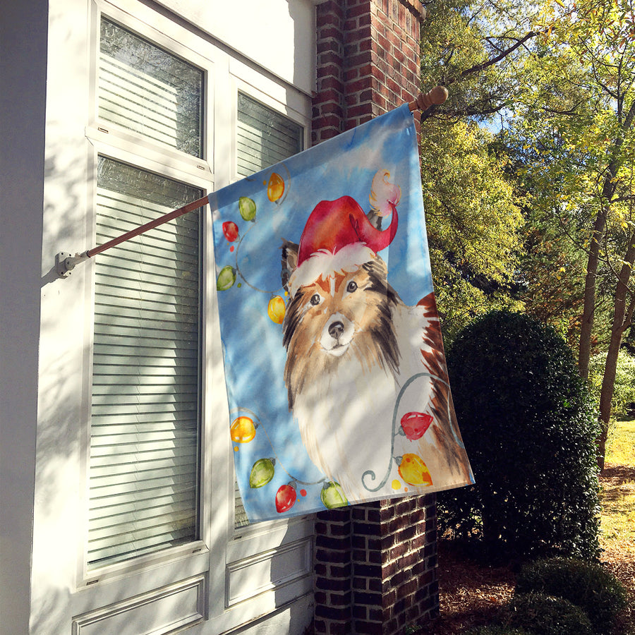 Buy this Christmas Lights Sheltie Flag Canvas House Size CK2492CHF