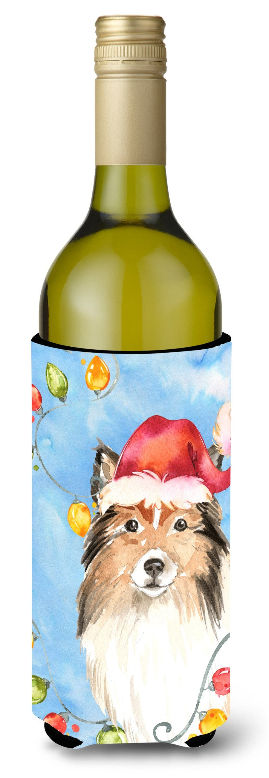 Buy this Christmas Lights Sheltie Wine Bottle Beverage Insulator Hugger CK2492LITERK