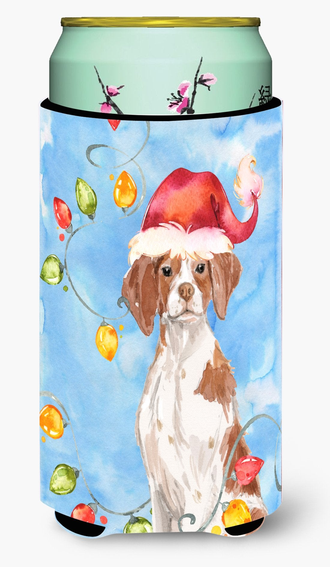 Christmas Lights Brittany Spaniel Tall Boy Beverage Insulator Hugger CK2508TBC by Caroline's Treasures