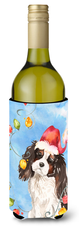 Buy this Christmas Lights Tricolor Cavalier Spaniel Wine Bottle Beverage Insulator Hugger CK2510LITERK