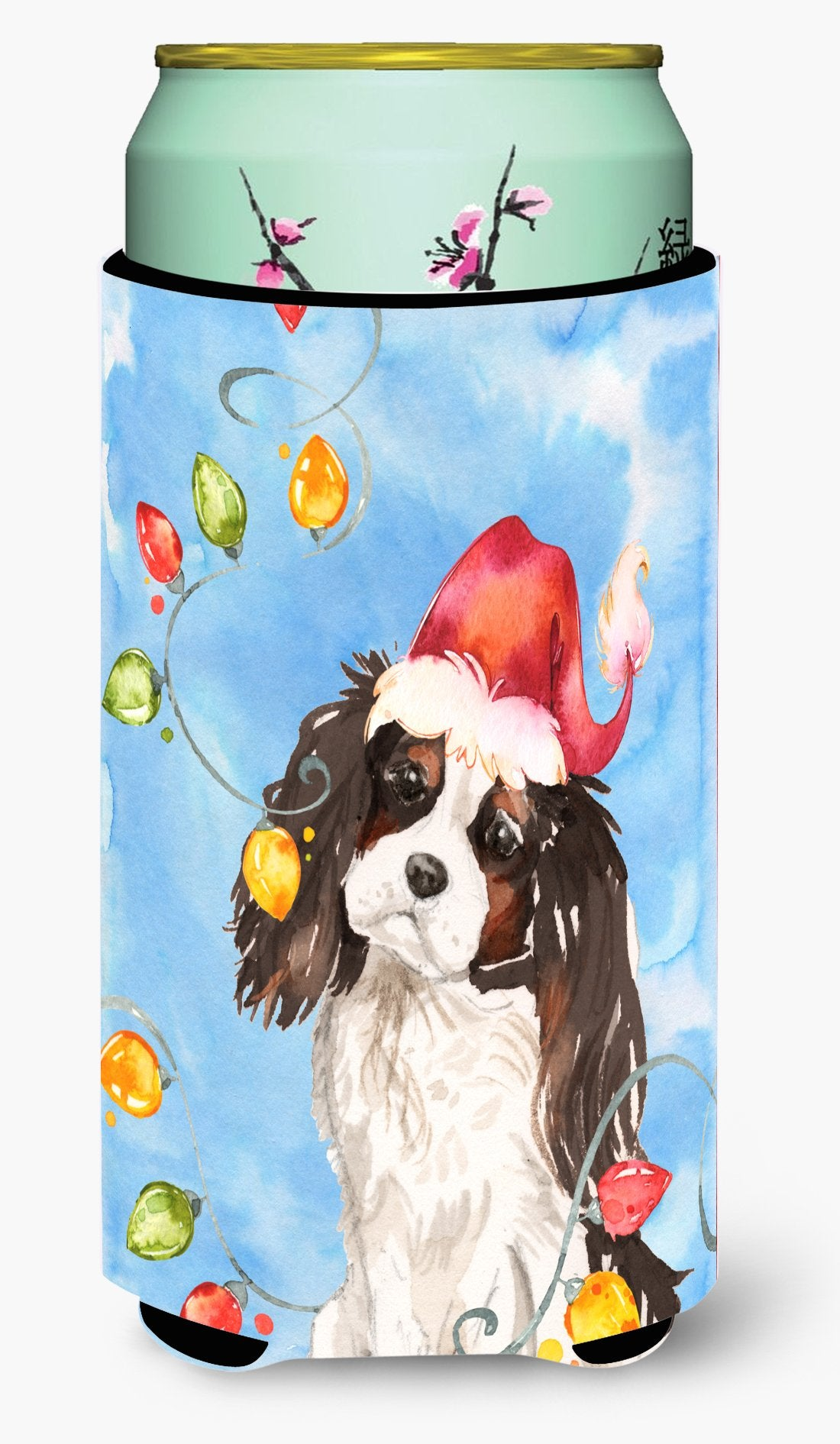 Christmas Lights Tricolor Cavalier Spaniel Tall Boy Beverage Insulator Hugger CK2510TBC by Caroline's Treasures