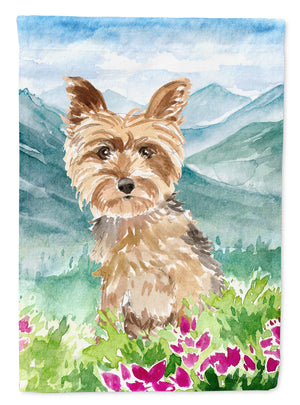 Buy this Mountian Flowers Yorkshire Terrier Yorkie Flag Canvas House Size CK2512CHF