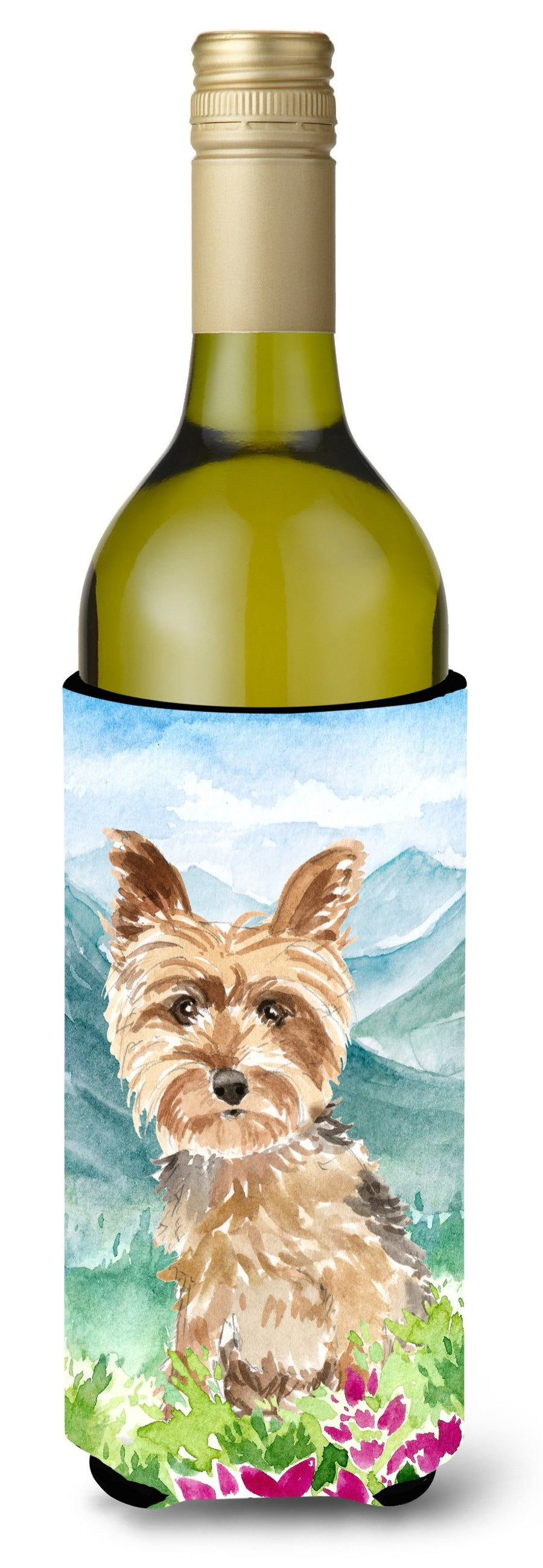 Buy this Mountian Flowers Yorkshire Terrier Yorkie Wine Bottle Beverage Insulator Hugger CK2512LITERK