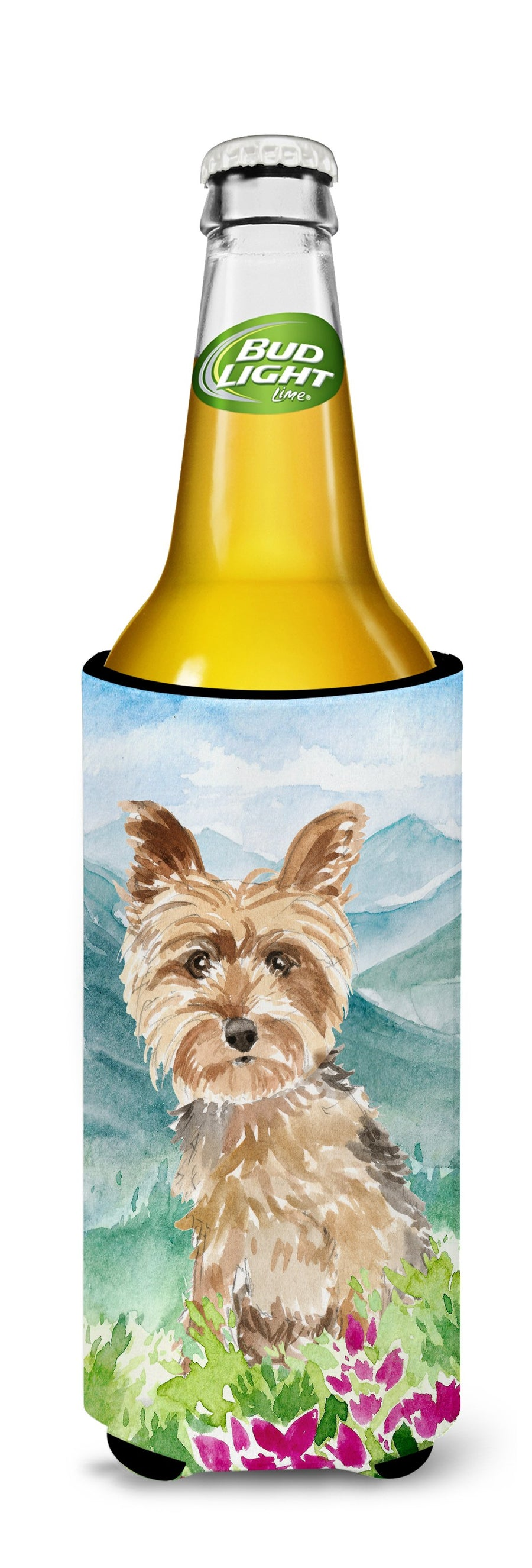 Buy this Mountian Flowers Yorkshire Terrier Yorkie Michelob Ultra Hugger for slim cans CK2512MUK