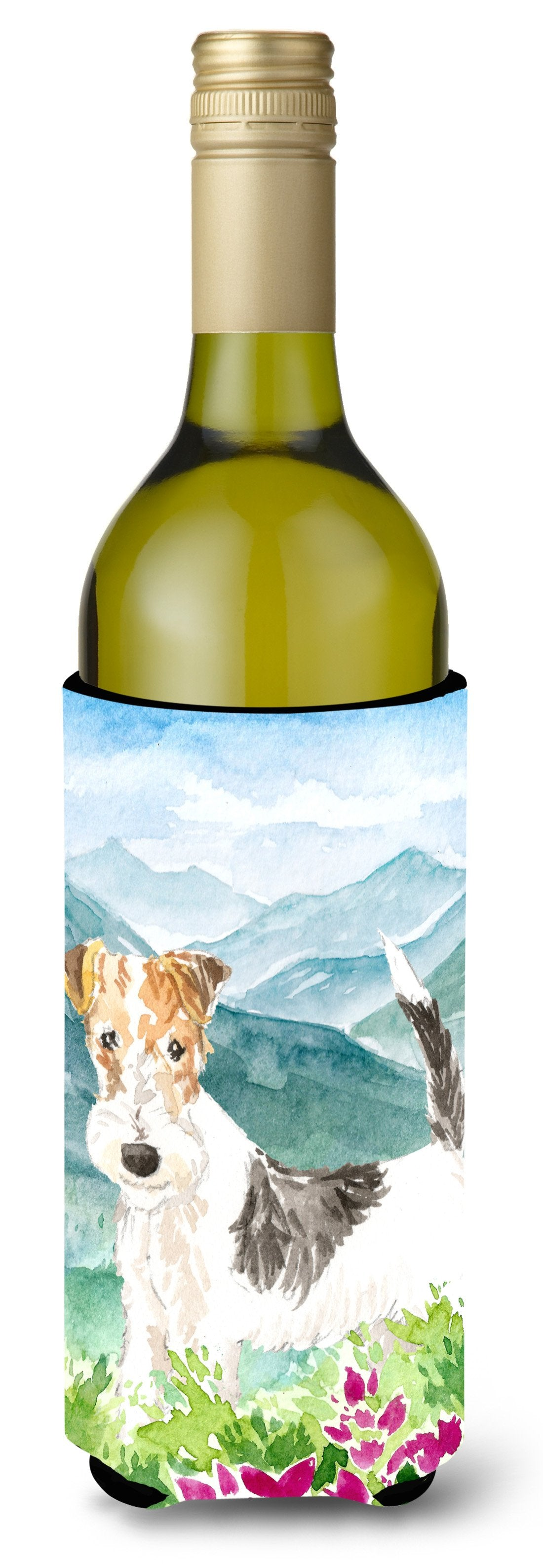 Buy this Mountian Flowers Fox Terrier Wine Bottle Beverage Insulator Hugger CK2513LITERK