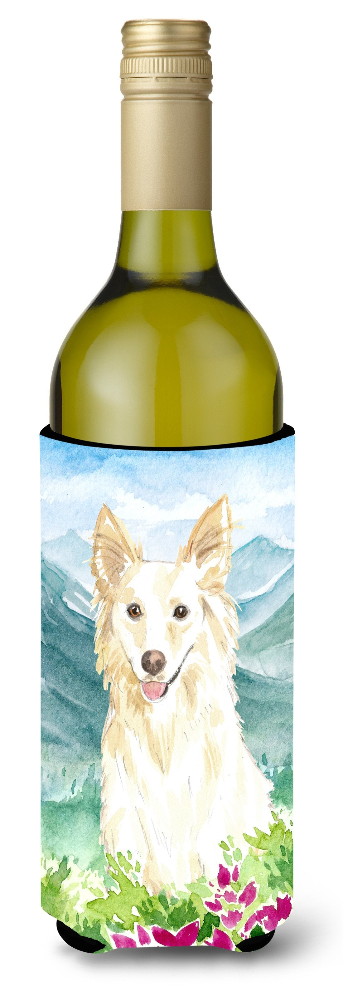 Buy this Mountian Flowers White Collie Wine Bottle Beverage Insulator Hugger CK2514LITERK