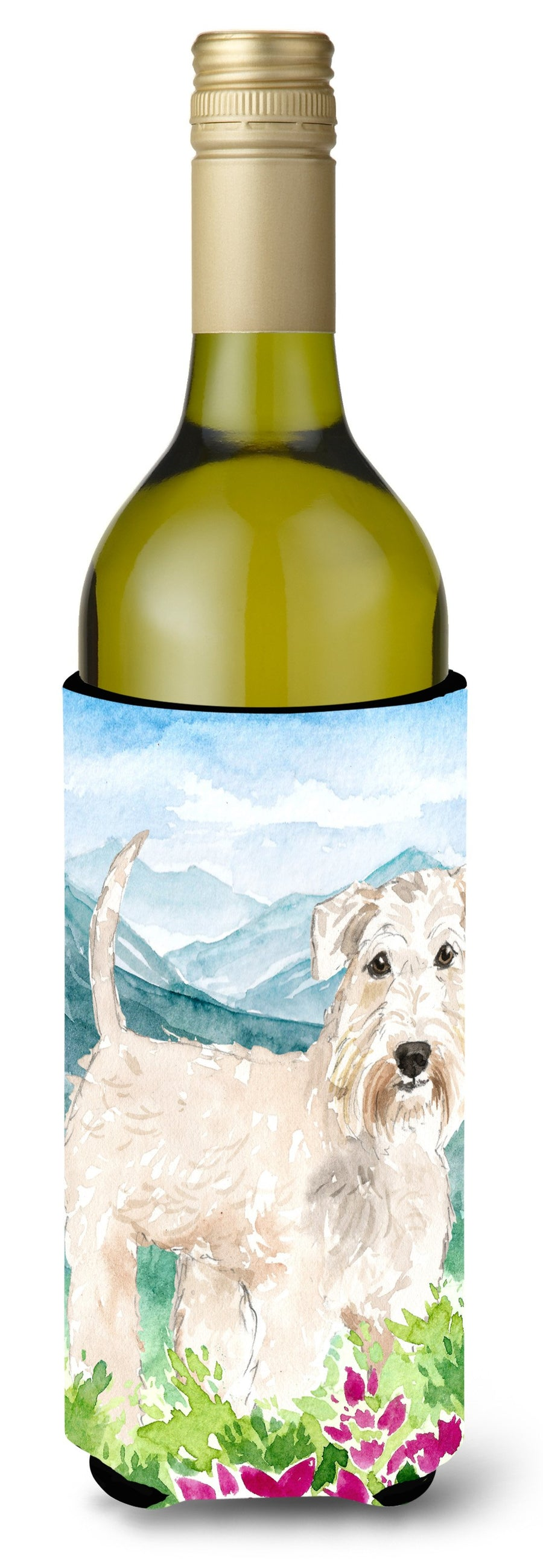 Buy this Mountian Flowers Wheaten Terrier Wine Bottle Beverage Insulator Hugger CK2515LITERK