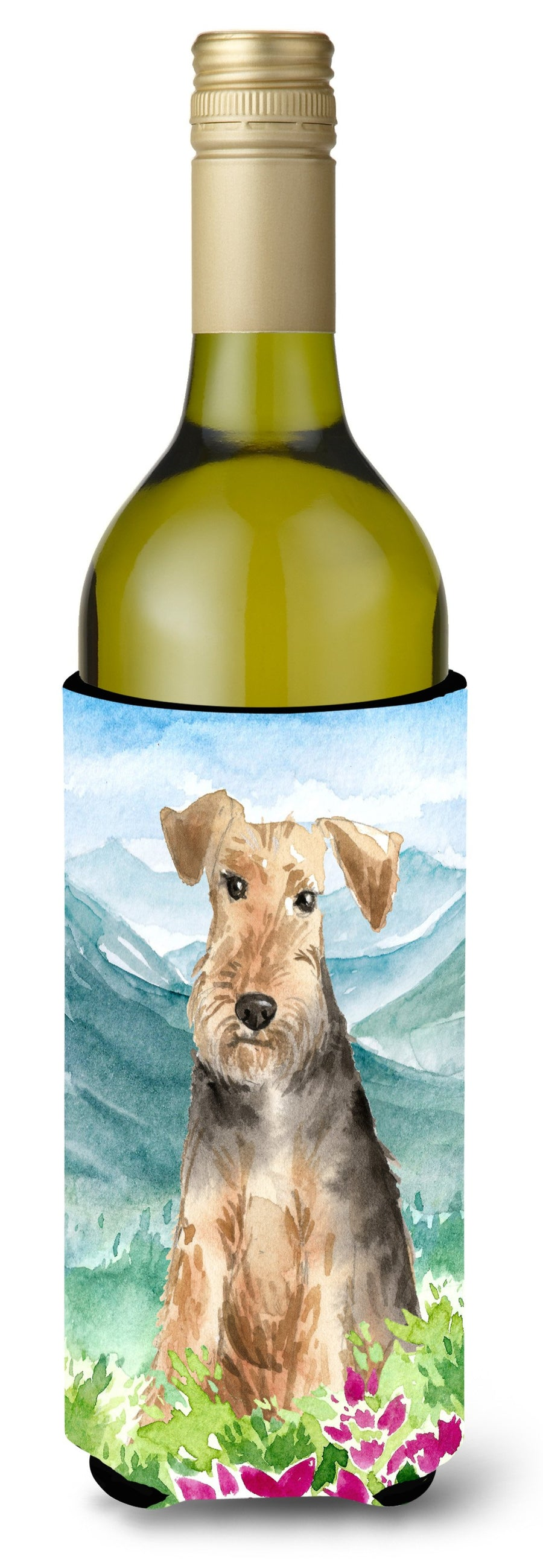 Buy this Mountian Flowers Welsh Terrier Wine Bottle Beverage Insulator Hugger CK2516LITERK