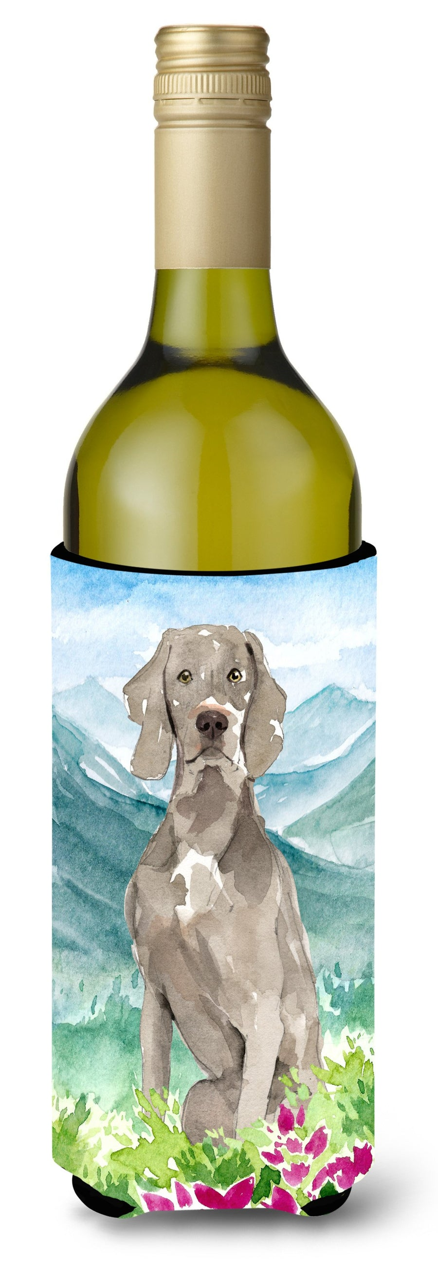 Buy this Mountian Flowers Weimaraner Wine Bottle Beverage Insulator Hugger CK2517LITERK
