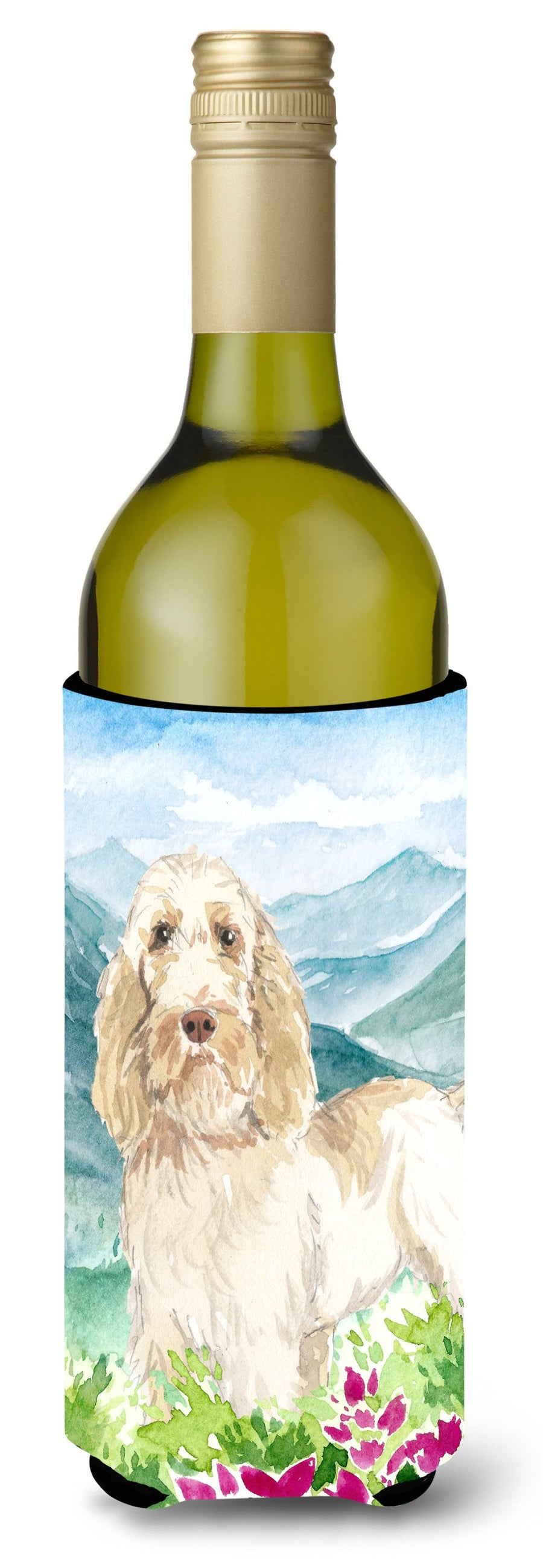 Buy this Mountian Flowers Spinone Italiano Wine Bottle Beverage Insulator Hugger CK2518LITERK