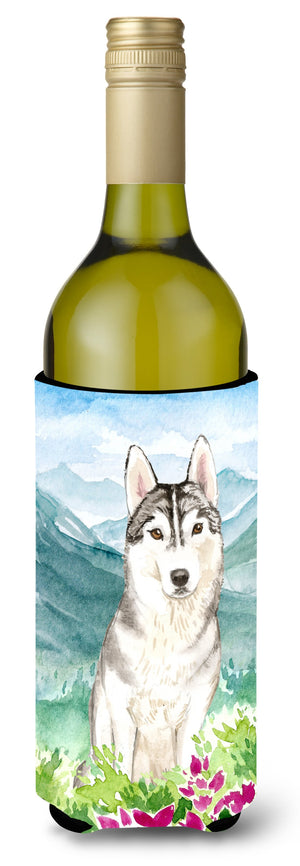 Buy this Mountian Flowers Siberian Husky Wine Bottle Beverage Insulator Hugger CK2519LITERK