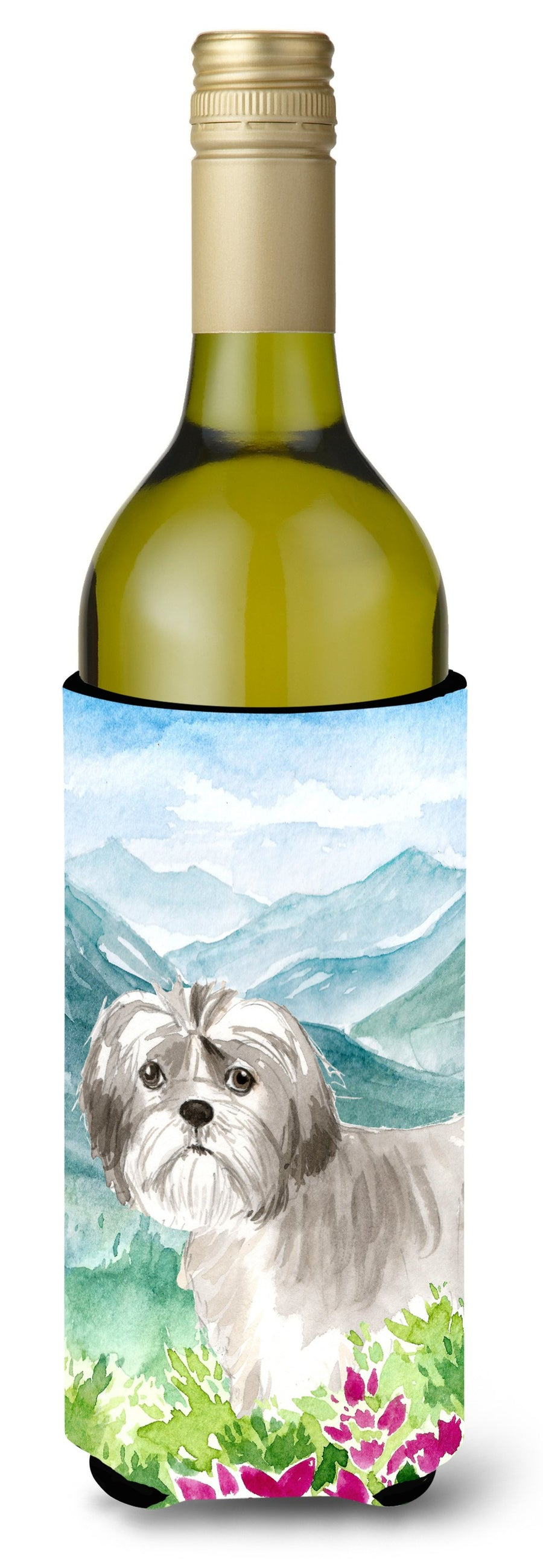 Buy this Mountain Flowers Shih Tzu Puppy Wine Bottle Beverage Insulator Hugger CK2520LITERK