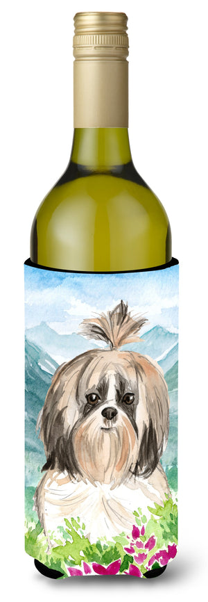 Buy this Mountain Flowers Shih Tzu Wine Bottle Beverage Insulator Hugger CK2521LITERK