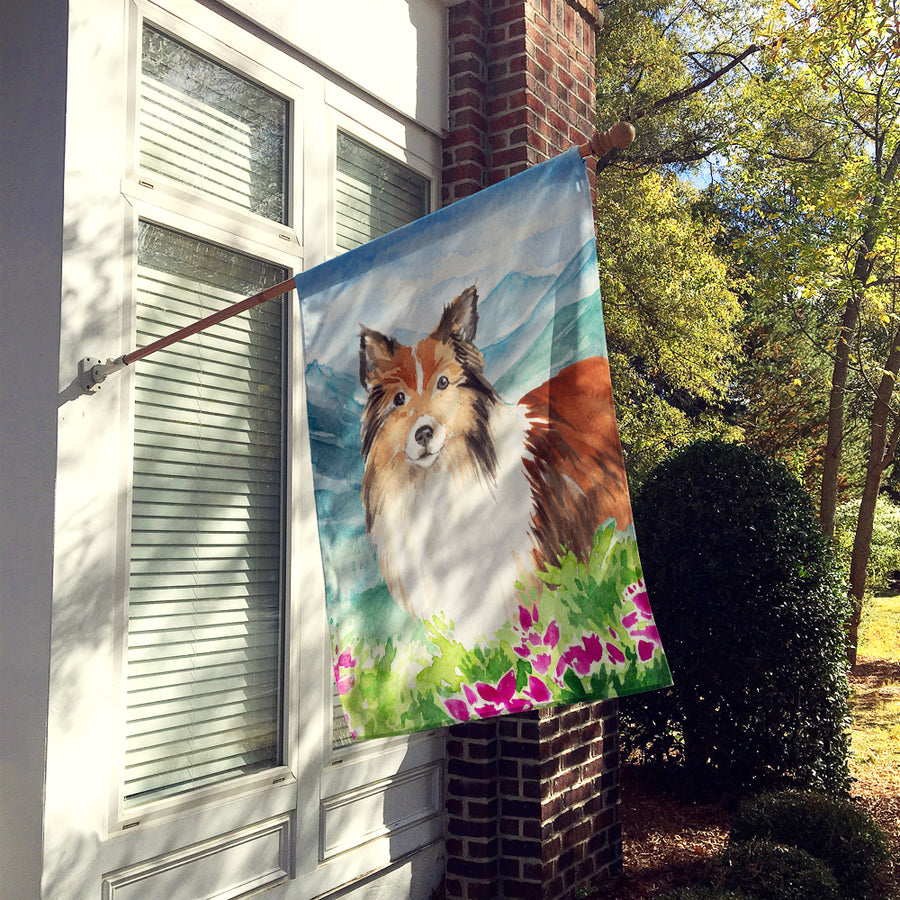 Buy this Mountain Flowers Sheltie Flag Canvas House Size CK2522CHF