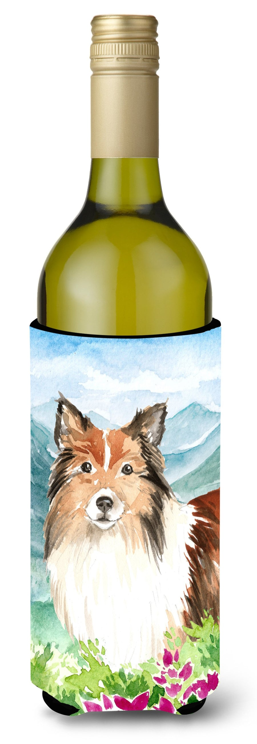 Buy this Mountain Flowers Sheltie Wine Bottle Beverage Insulator Hugger CK2522LITERK