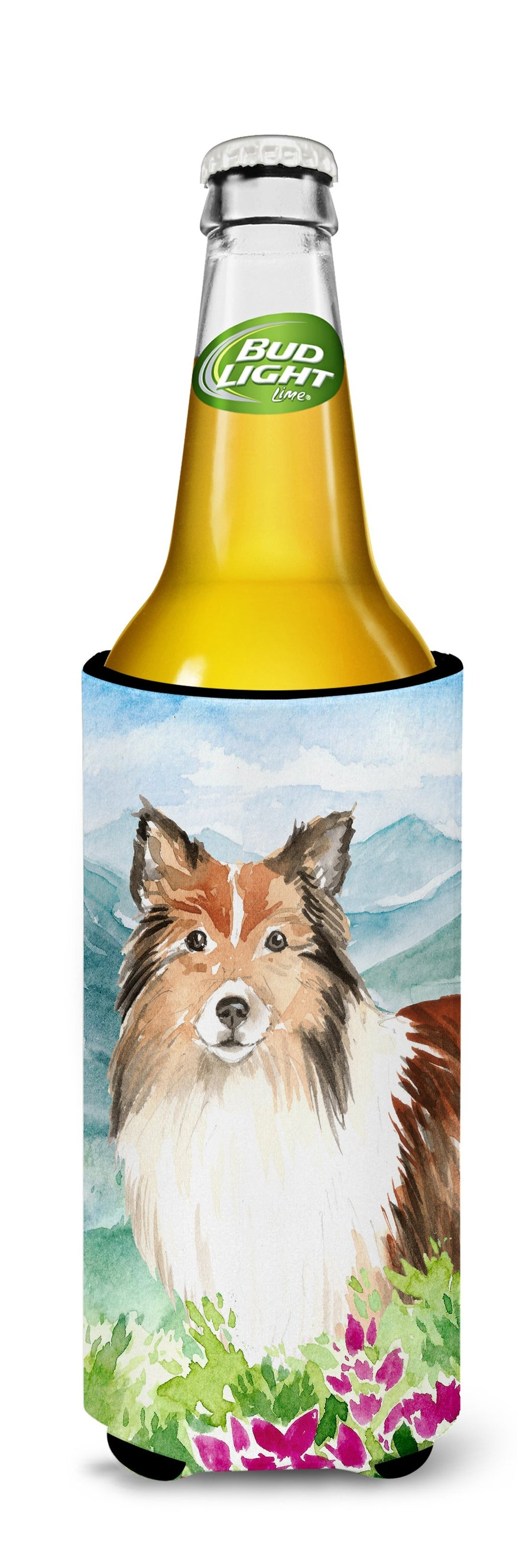 Buy this Mountain Flowers Sheltie Michelob Ultra Hugger for slim cans CK2522MUK