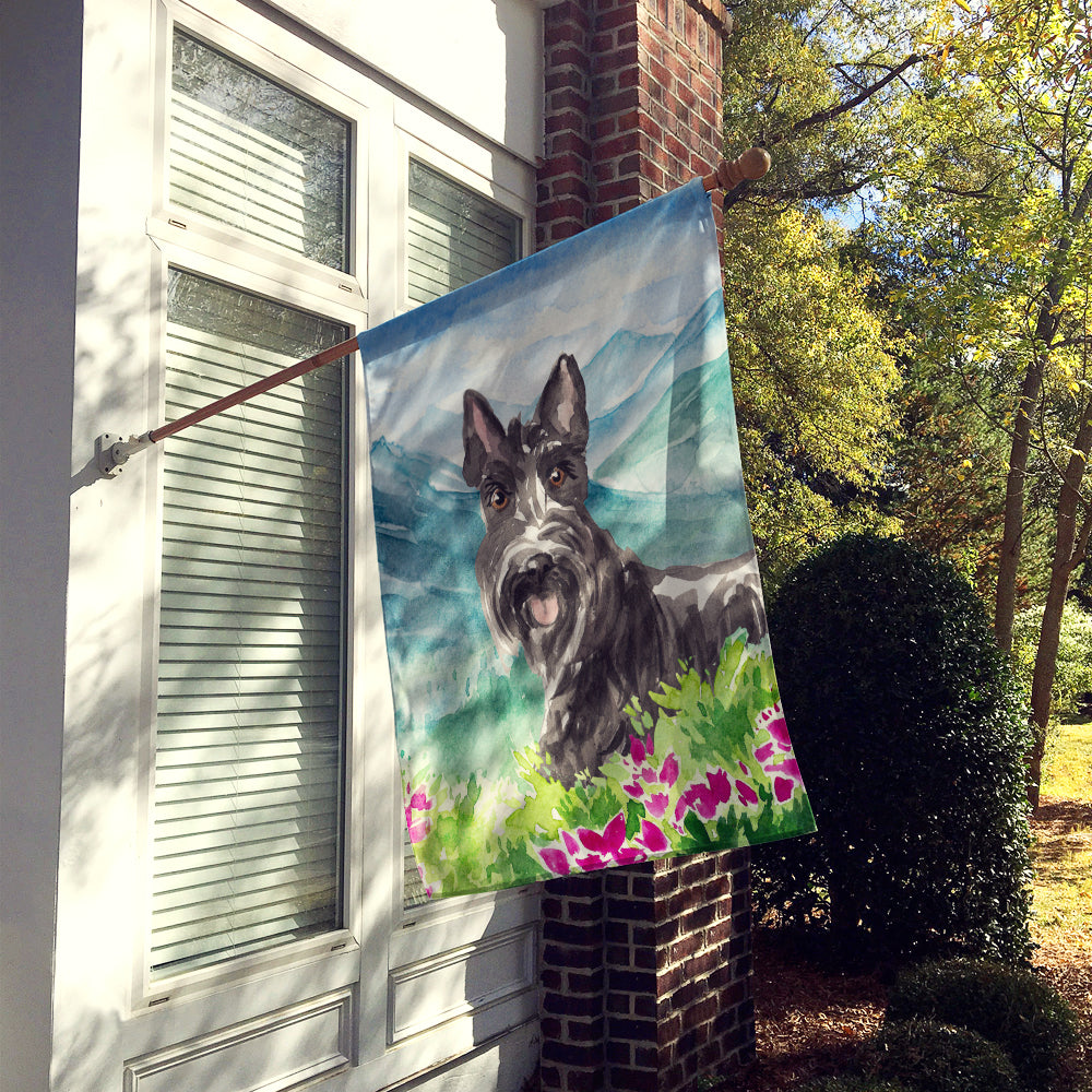 Mountain Flowers Scottish Terrier Flag Canvas House Size CK2523CHF by Caroline's Treasures