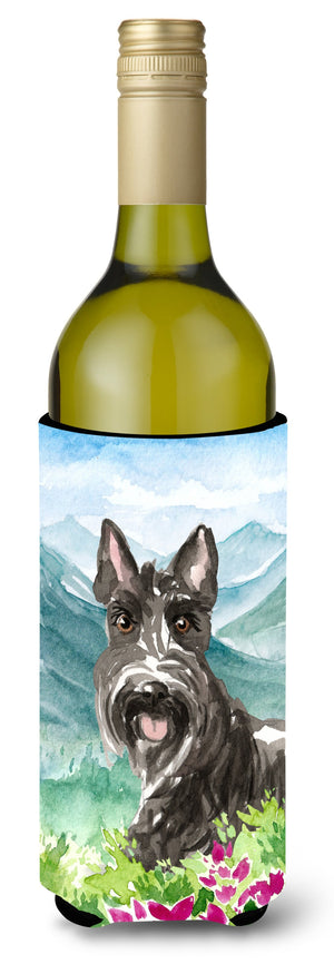 Buy this Mountain Flowers Scottish Terrier Wine Bottle Beverage Insulator Hugger CK2523LITERK