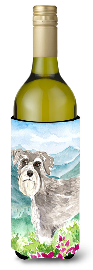 Buy this Mountain Flowers Schnauzer #1 Wine Bottle Beverage Insulator Hugger CK2524LITERK
