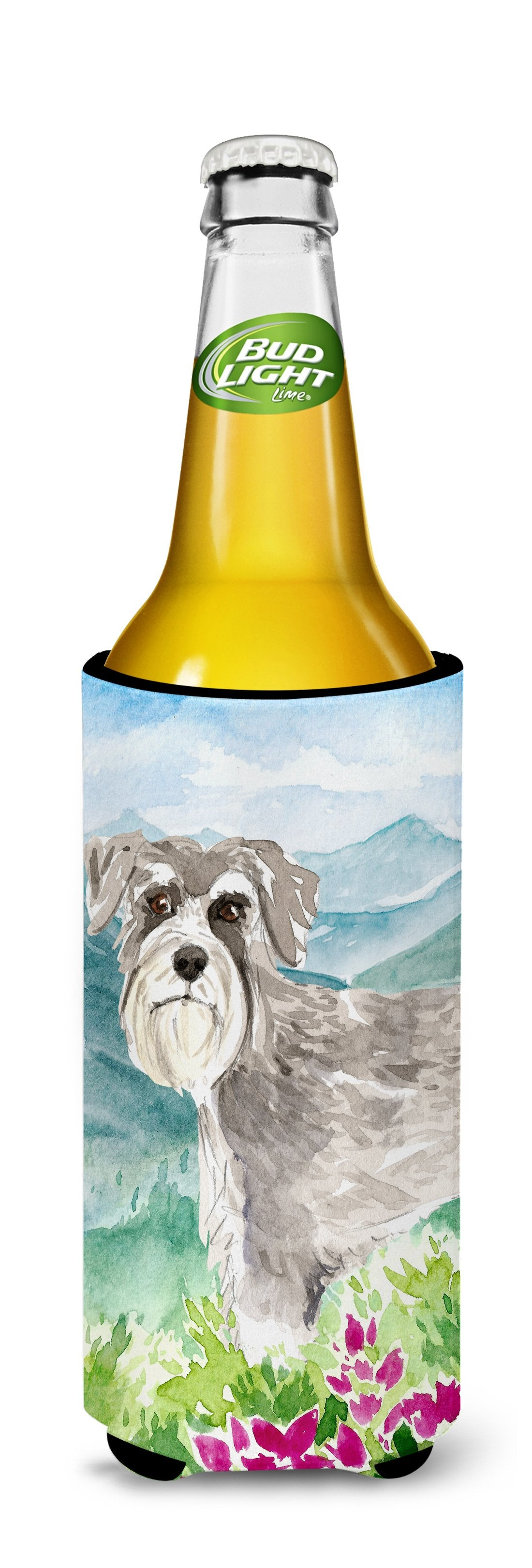 Mountain Flowers Schnauzer #1 Michelob Ultra Hugger for slim cans CK2524MUK by Caroline's Treasures