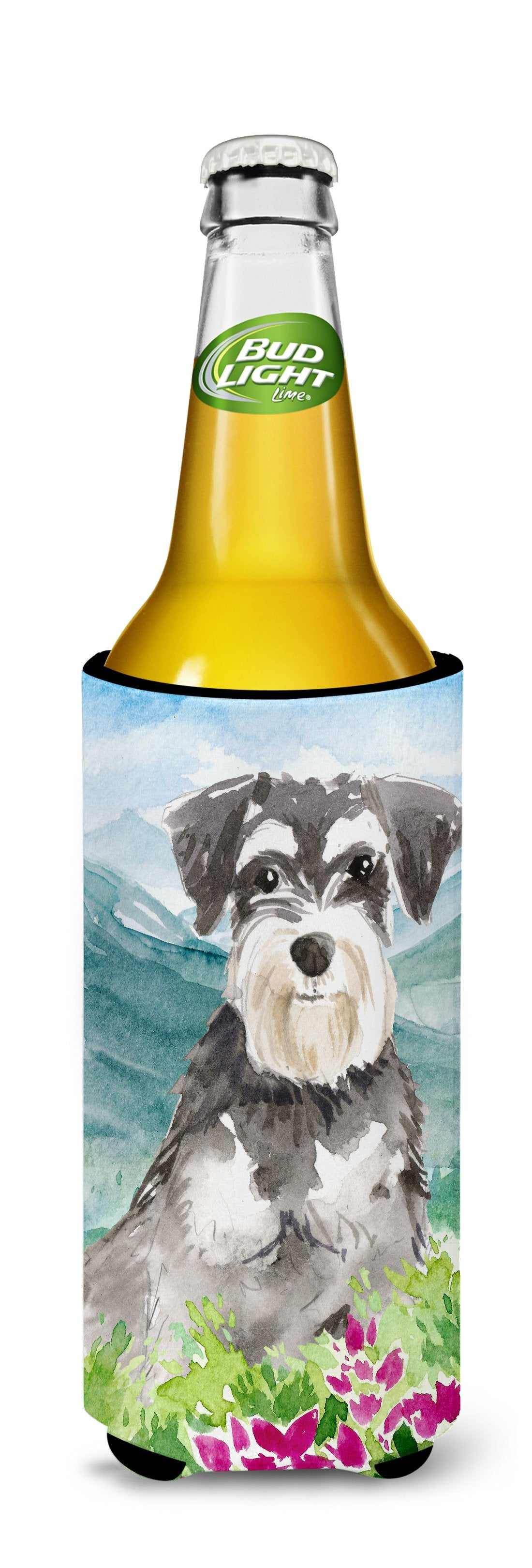 Mountain Flowers Schnauzer #2 Michelob Ultra Hugger for slim cans CK2528MUK by Caroline's Treasures