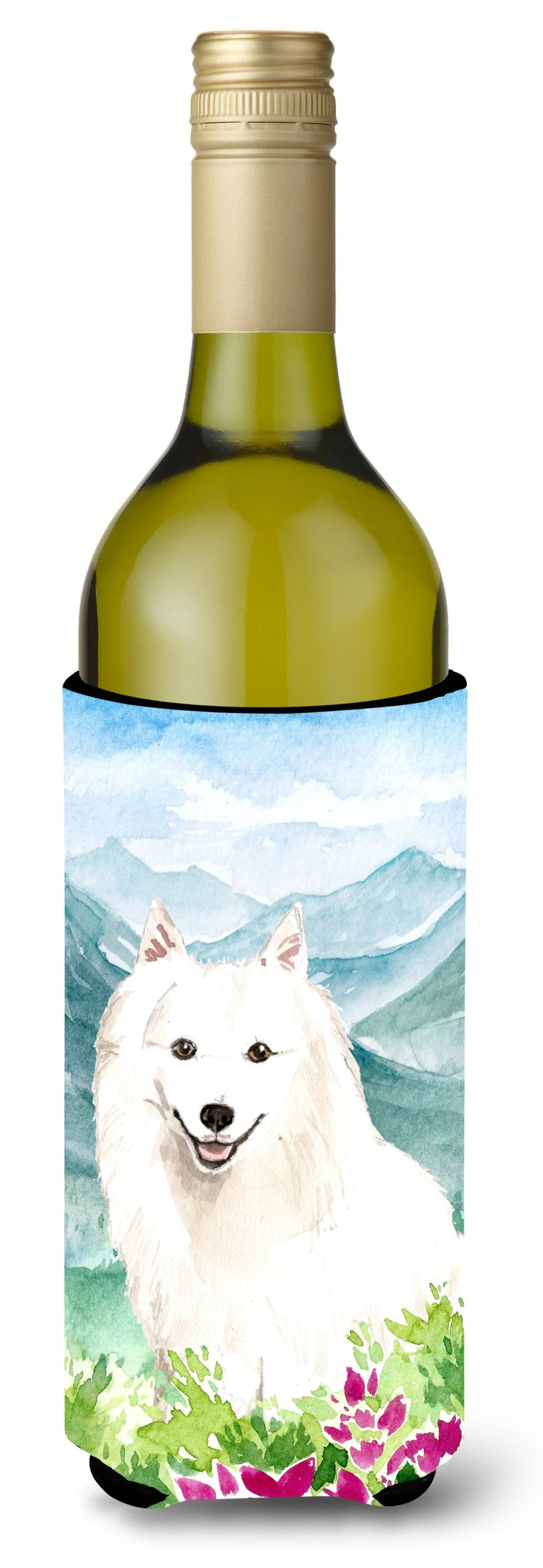 Buy this Mountain Flowers Japanese Spitz Wine Bottle Beverage Insulator Hugger CK2533LITERK