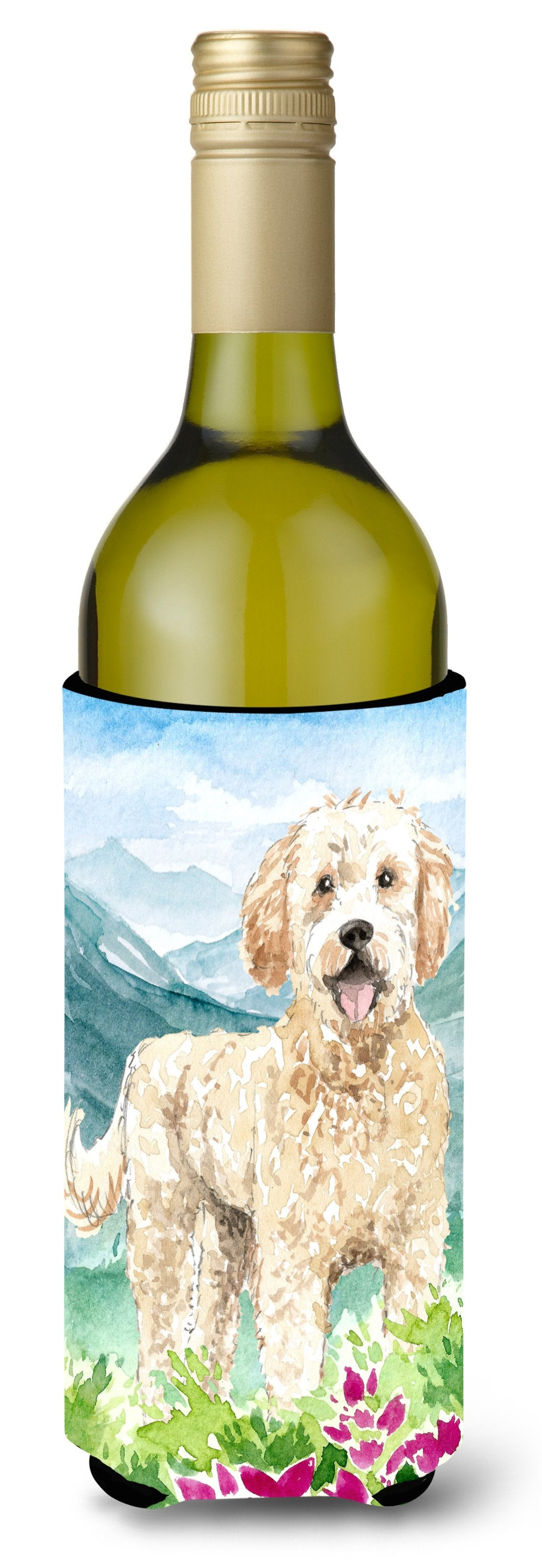 Buy this Mountain Flowers Goldendoodle Wine Bottle Beverage Insulator Hugger CK2537LITERK