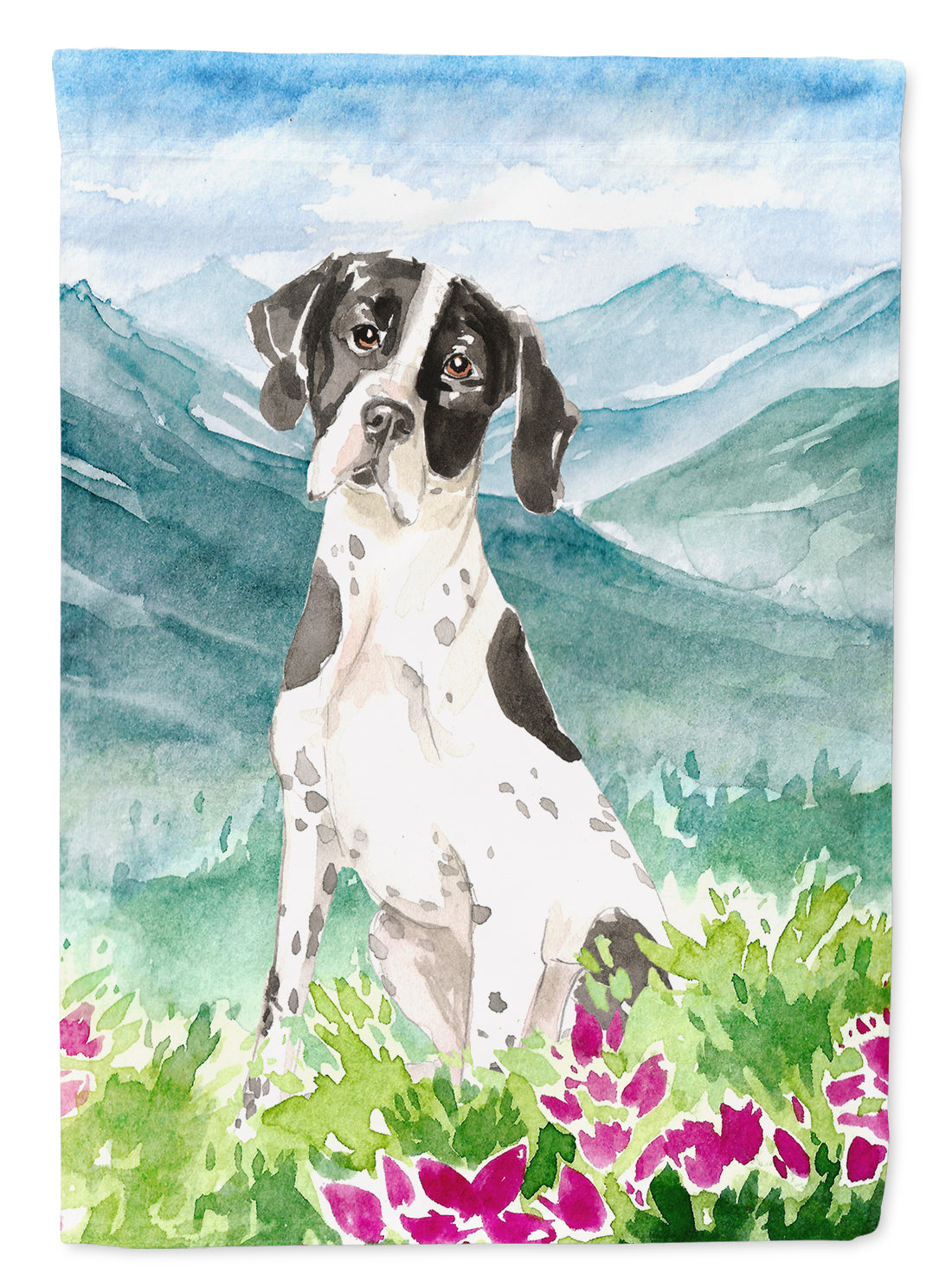 Mountain Flowers English Pointer Flag Canvas House Size CK2538CHF by Caroline's Treasures