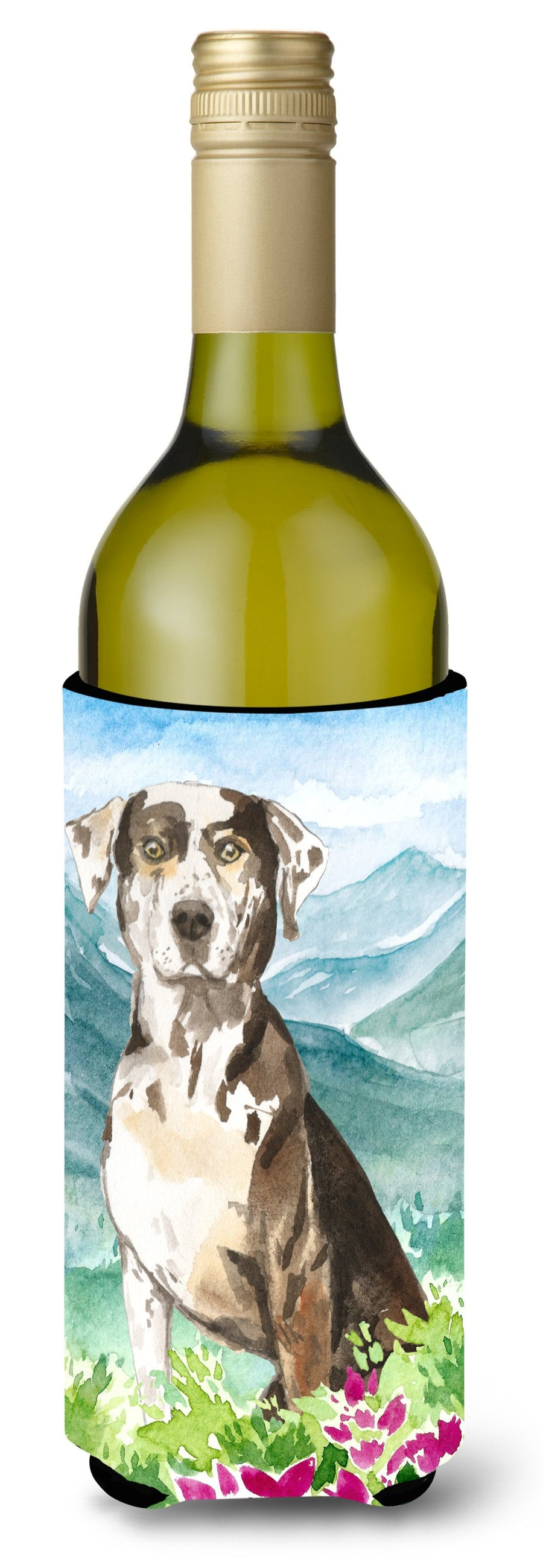Buy this Mountain Flowers Catahoula Leopard Dog Wine Bottle Beverage Insulator Hugger CK2540LITERK