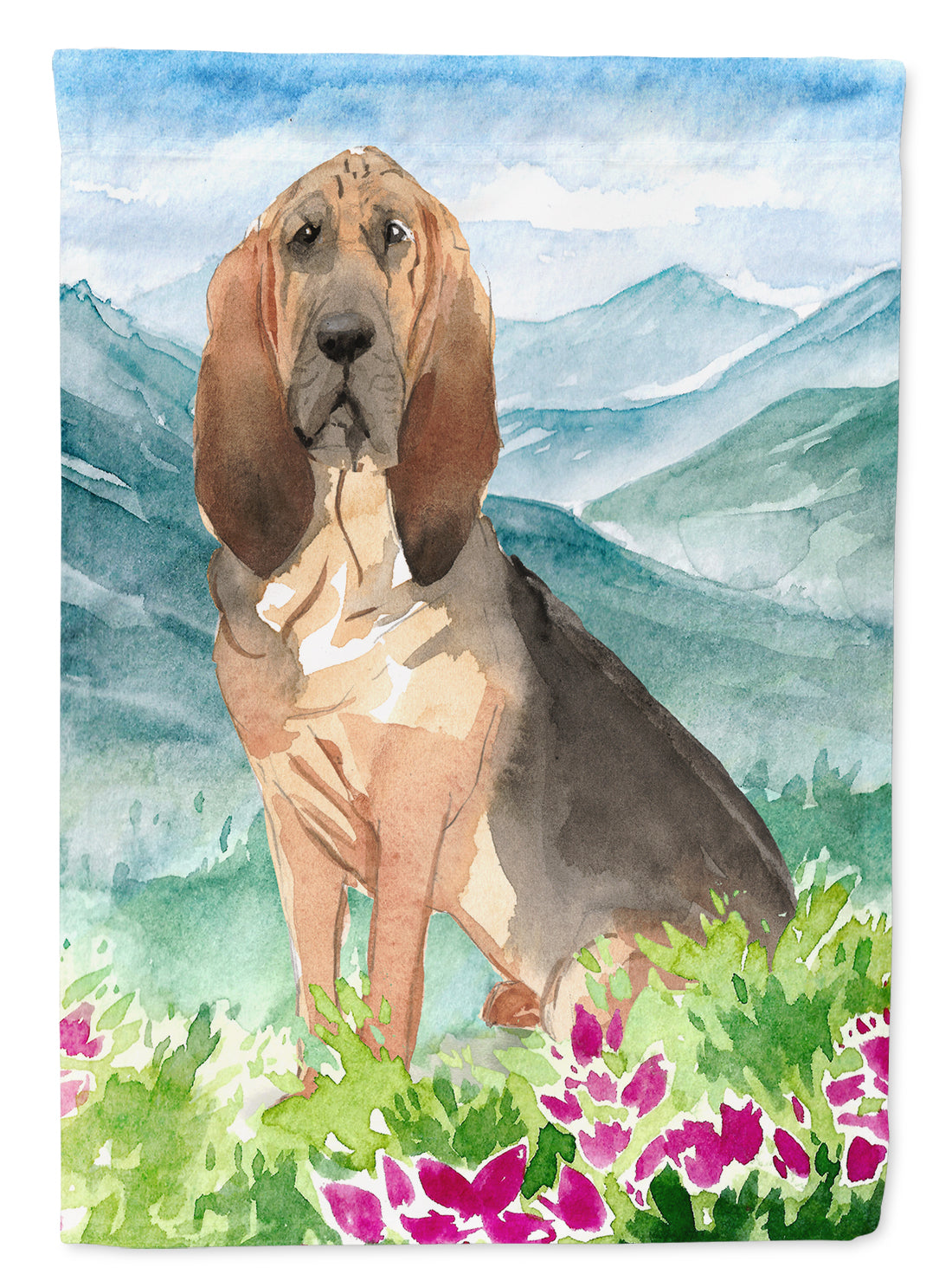 Mountain Flowers Bloodhound Flag Canvas House Size CK2545CHF by Caroline's Treasures