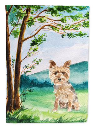 Buy this Under the Tree Yorkie Yorkshire Terrier Flag Canvas House Size CK2549CHF