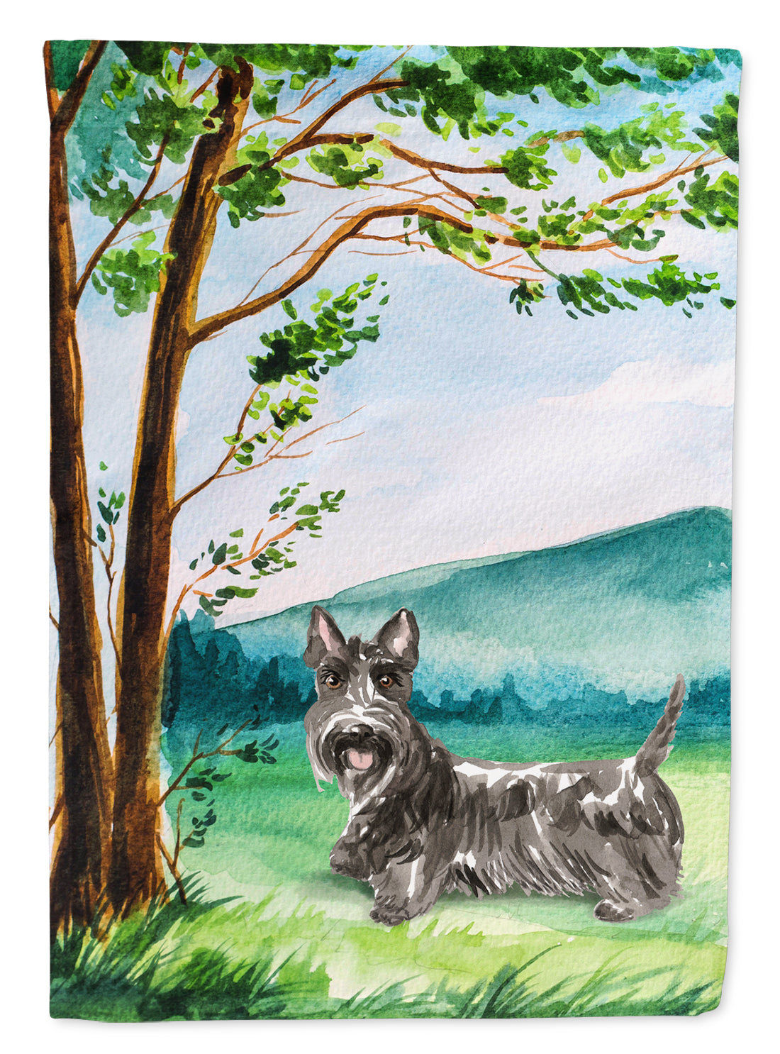 Under the Tree Scottish Terrier Flag Canvas House Size CK2559CHF by Caroline's Treasures