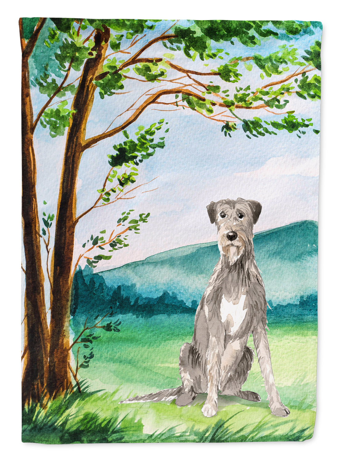 Buy this Under the Tree Irish Wolfhound Flag Canvas House Size CK2570CHF