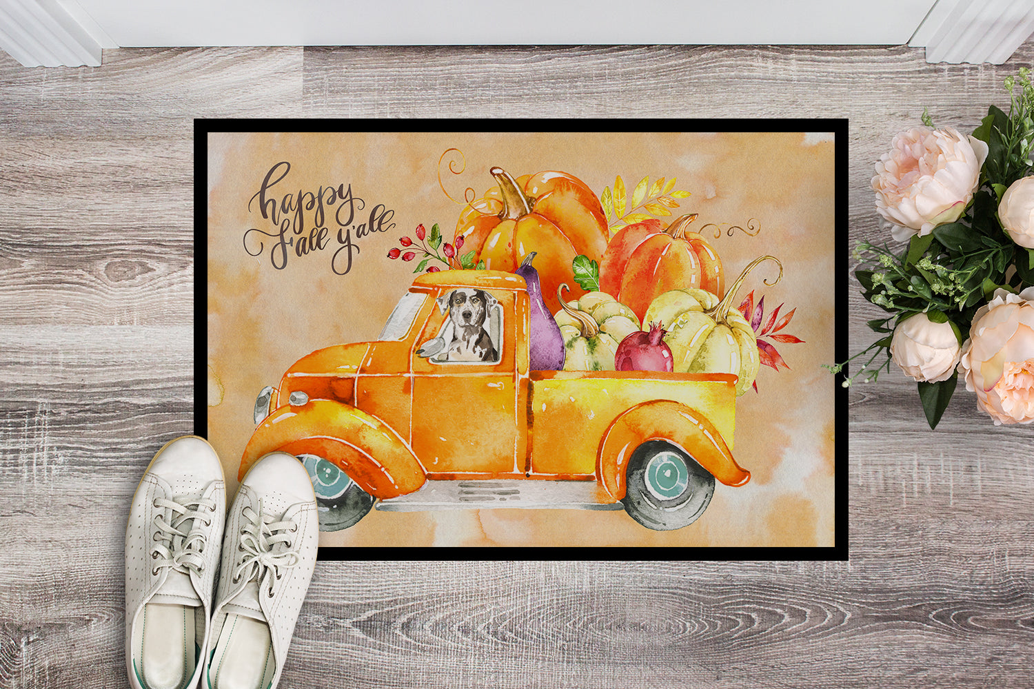 Fall Harvest Catahoula Leopard Dog Indoor or Outdoor Mat 18x27 CK2614MAT by Caroline's Treasures