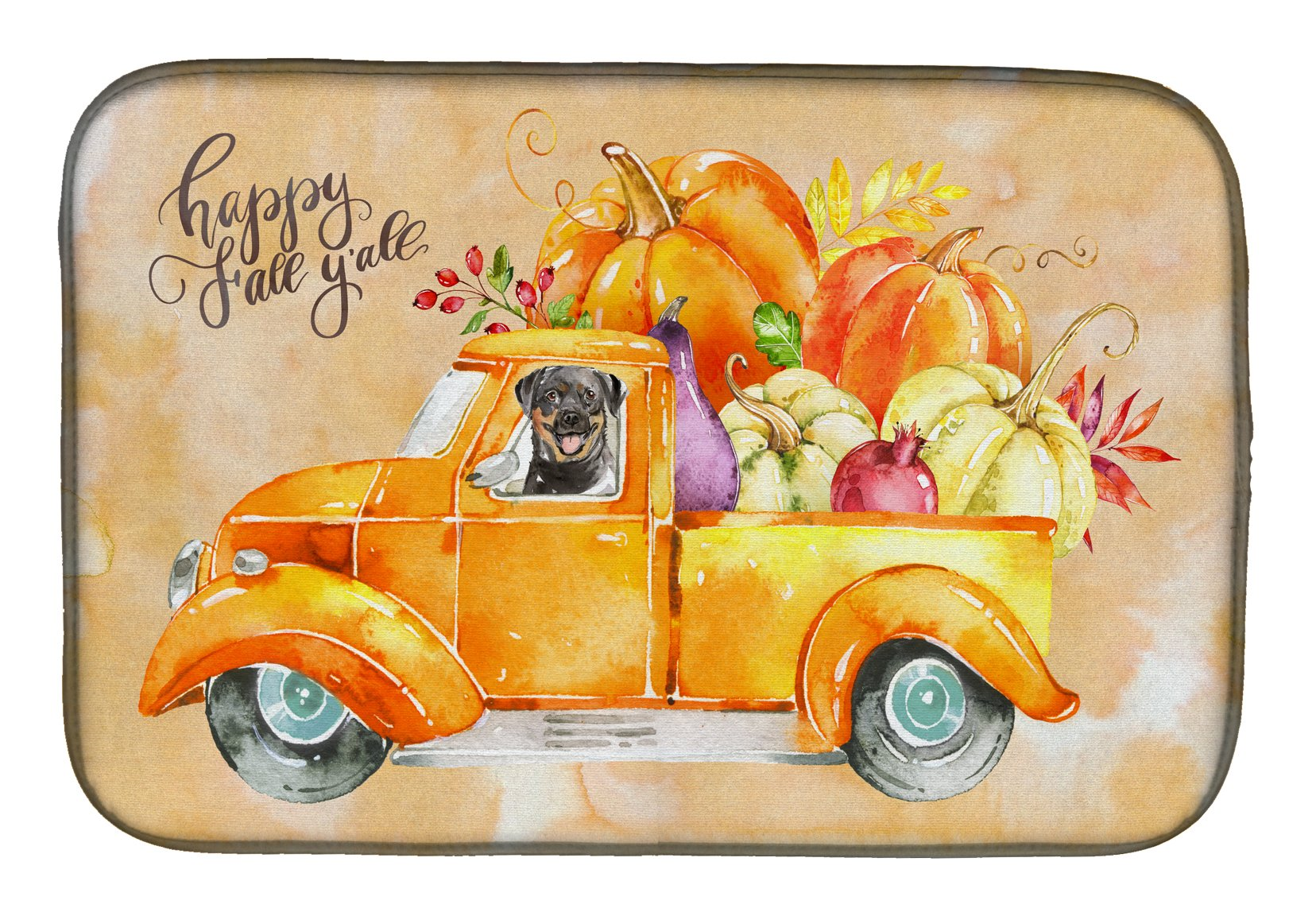 Buy this Fall Harvest Rottweiler Dish Drying Mat CK2629DDM