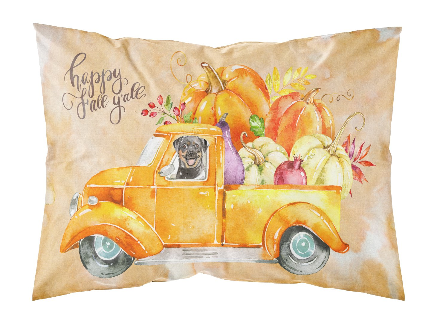Buy this Fall Harvest Rottweiler Fabric Standard Pillowcase CK2629PILLOWCASE
