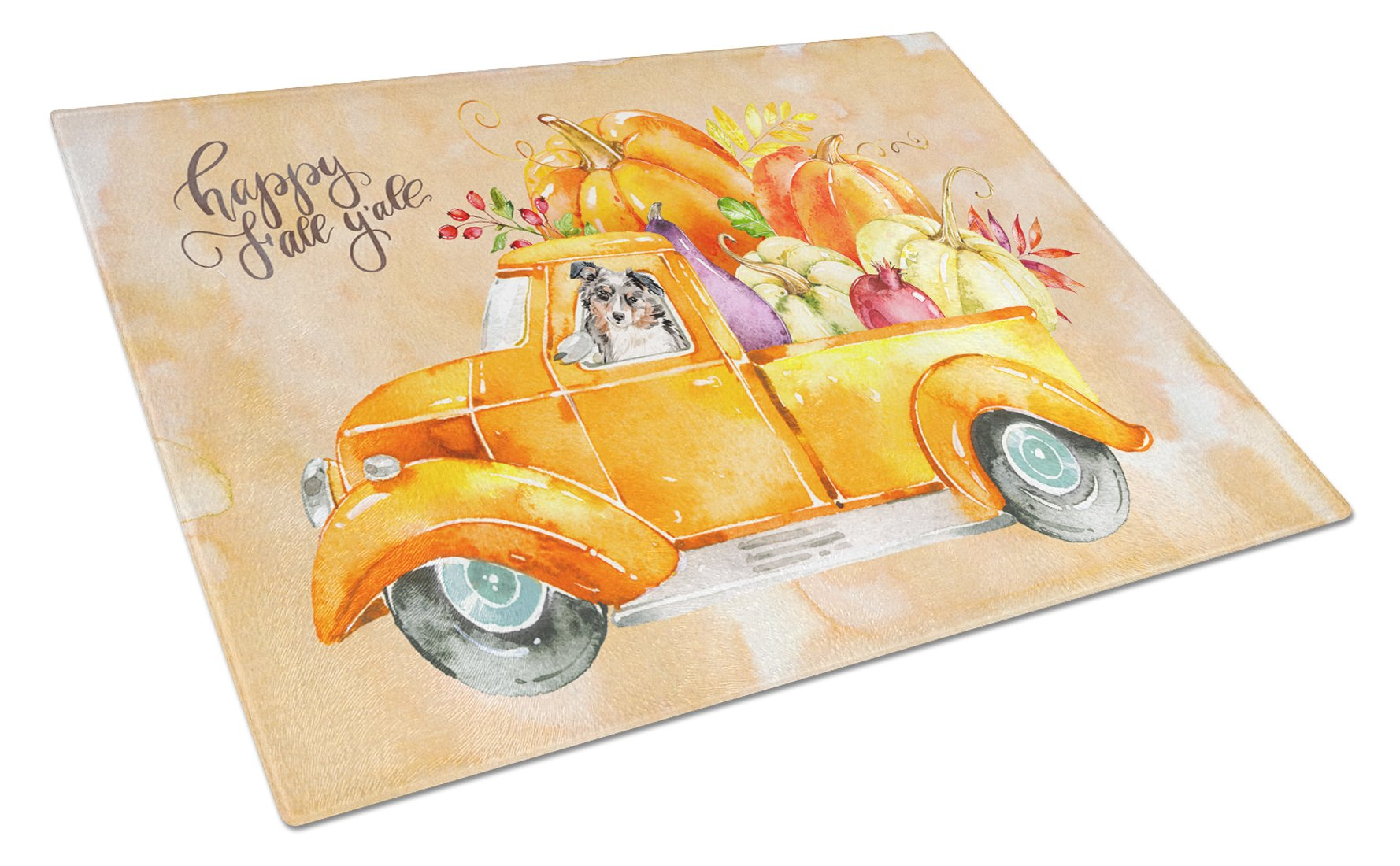 Buy this Fall Harvest Australian Shepherd Glass Cutting Board Large CK2646LCB