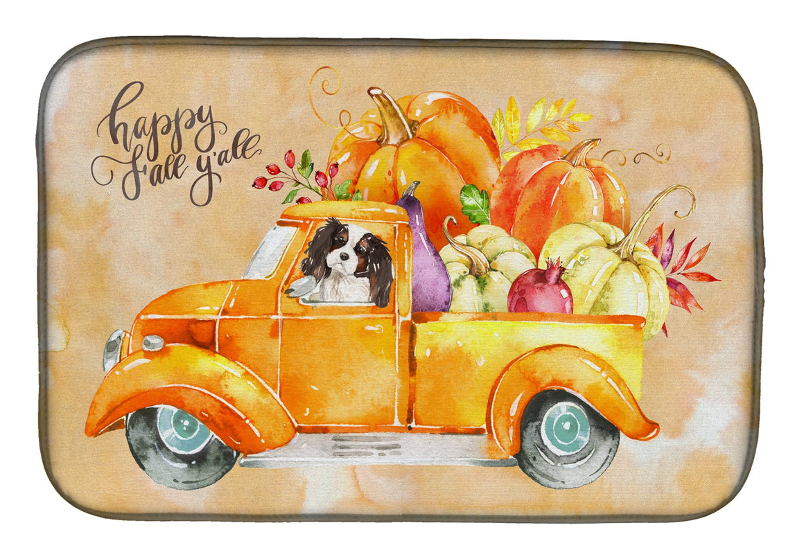 Buy this Fall Harvest Tricolor Cavalier Spaniel Dish Drying Mat CK2652DDM