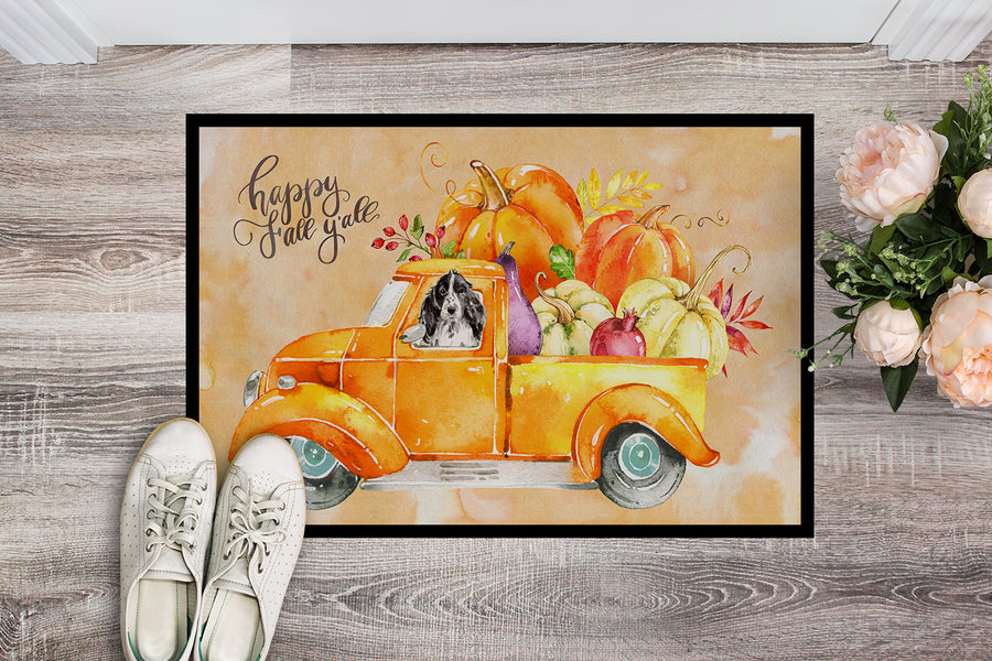 Buy this Fall Harvest Black Parti Cocker Spaniel Indoor or Outdoor Mat 18x27 CK2662MAT