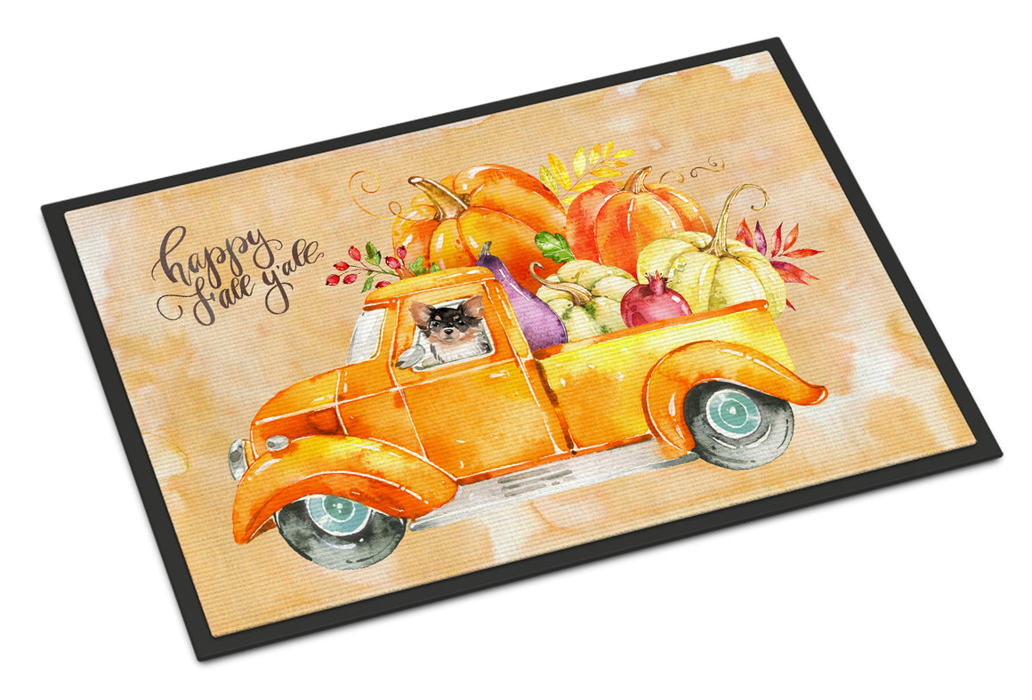 Buy this Fall Harvest Long Haired Chihuahua Indoor or Outdoor Mat 18x27 CK2672MAT