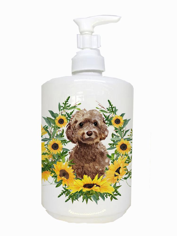 Buy this Brown Cockapoo Ceramic Soap Dispenser CK2948SOAP