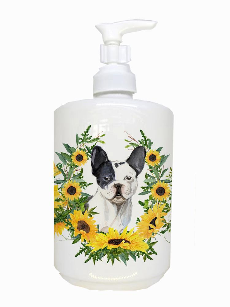 Buy this Black White French Bulldog Ceramic Soap Dispenser CK2950SOAP