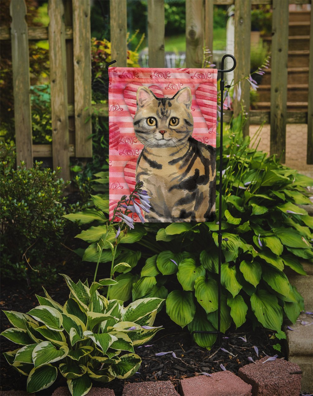 American Shorthair Brown Tabby Cat Love Flag Garden Size CK3043GF by Caroline's Treasures