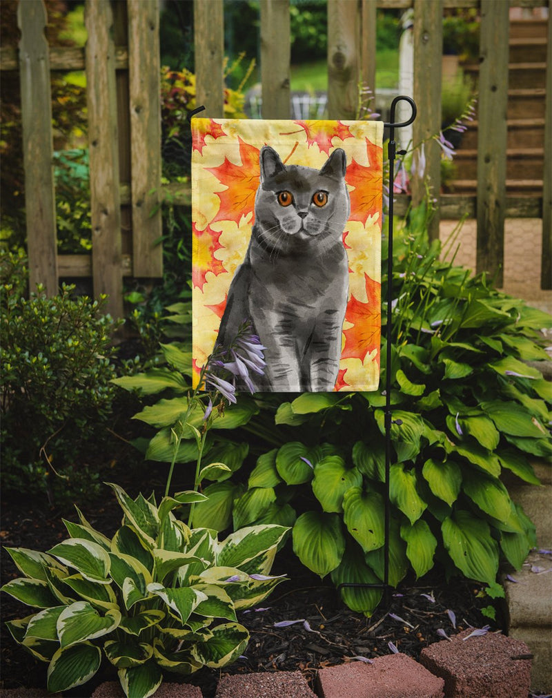 Buy this British Shorthair Fall Leaves Flag Garden Size CK3078GF