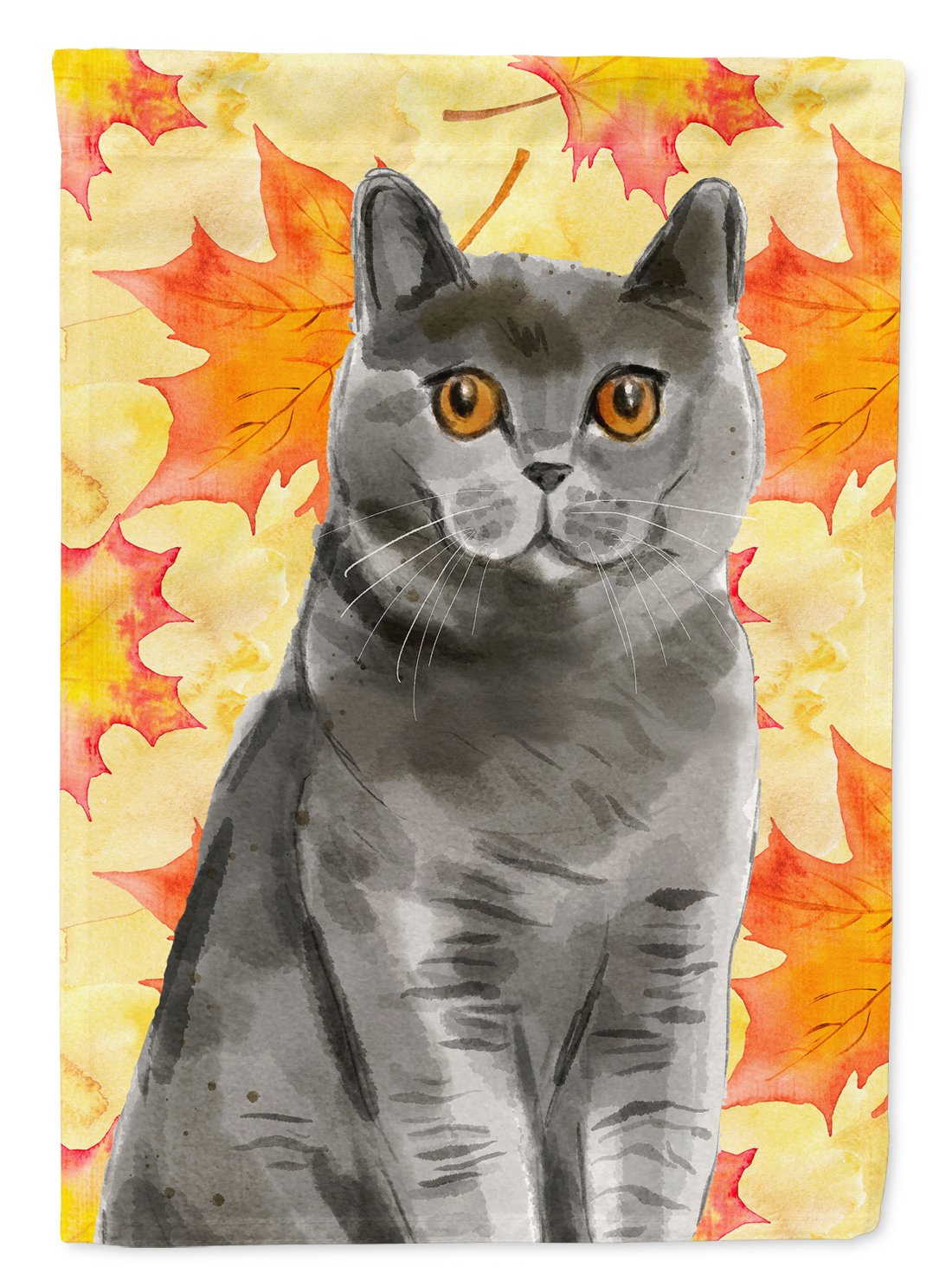 British Shorthair Fall Leaves Flag Garden Size CK3078GF by Caroline's Treasures