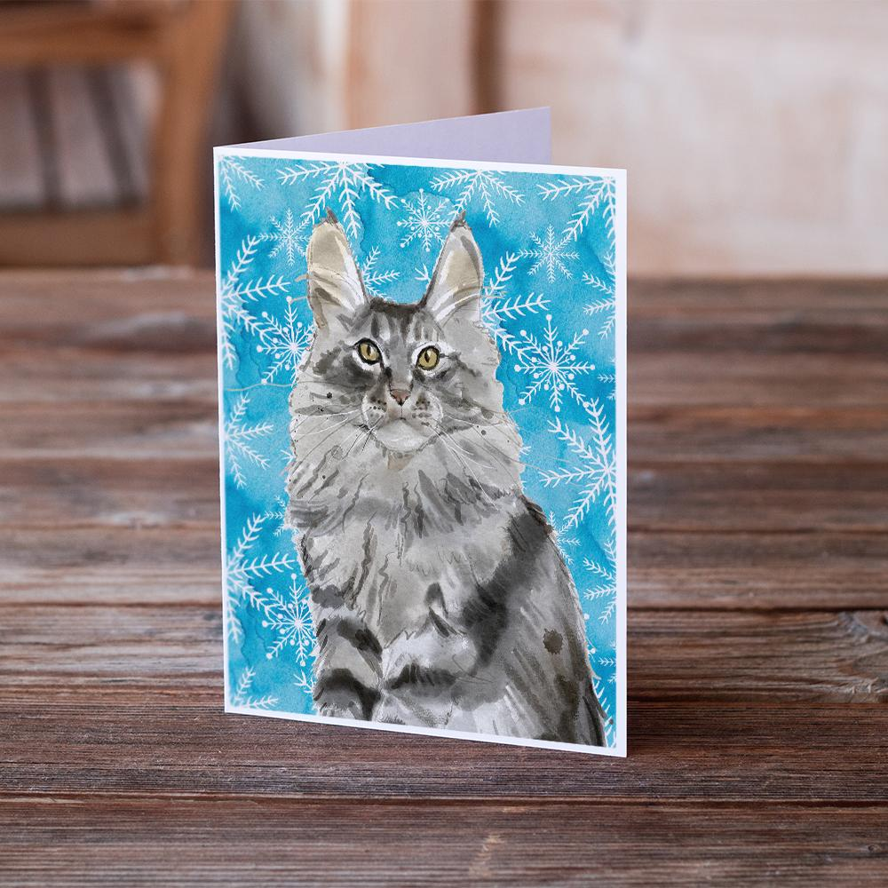 Buy this Maine Coon Winter Snowflake Greeting Cards and Envelopes Pack of 8