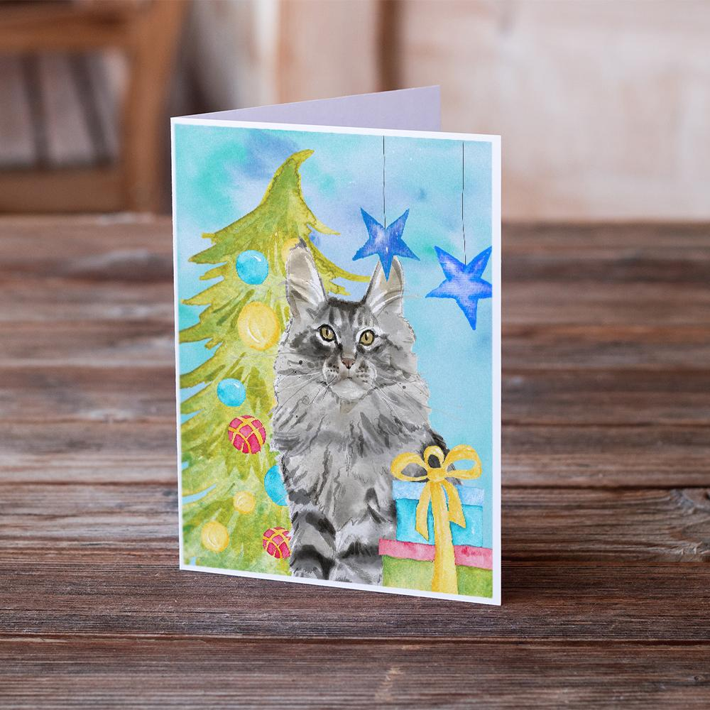 Buy this Maine Coon Christmas Presents Greeting Cards and Envelopes Pack of 8