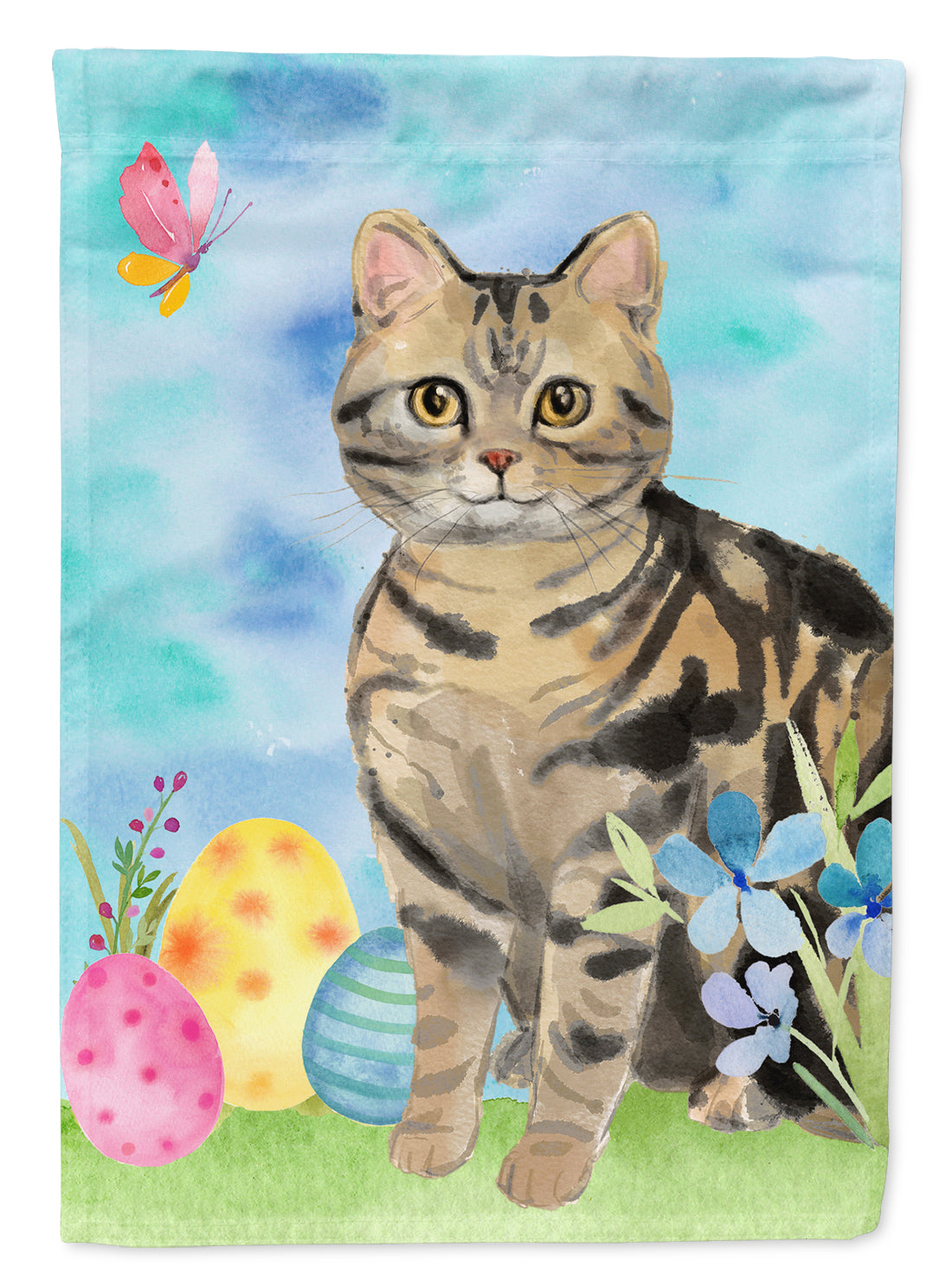 Buy this American Shorthair Brown Tabby Easter Eggs Flag Garden Size CK3133GF
